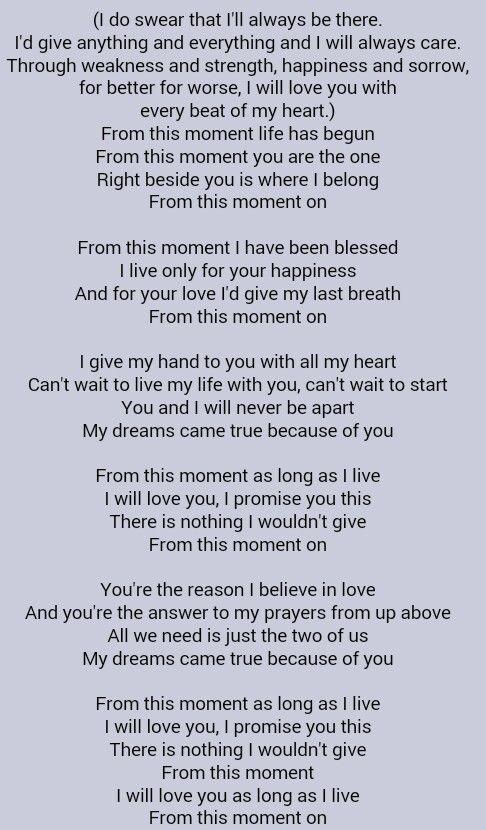 Lirik From This Moment : lirik, moment, Living, Dream, Loving, Moment, Lyrics, LyricsWalls