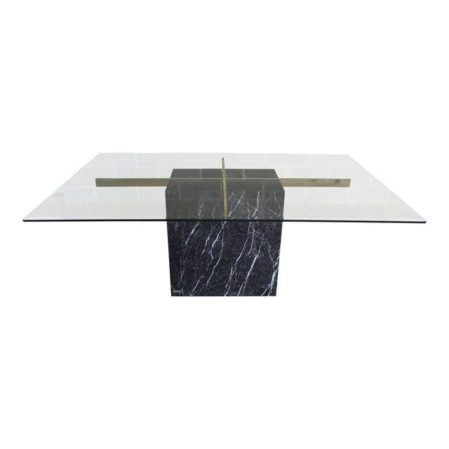 Image Of Vintage Artedi Italian Marble Glass Top Dining Table