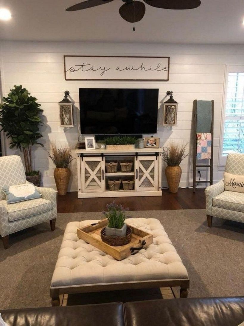 Awesome Farmhouse Living Room With Tv Farm House Living Room Farmhouse Decor Living Room Living Room Tv Stand