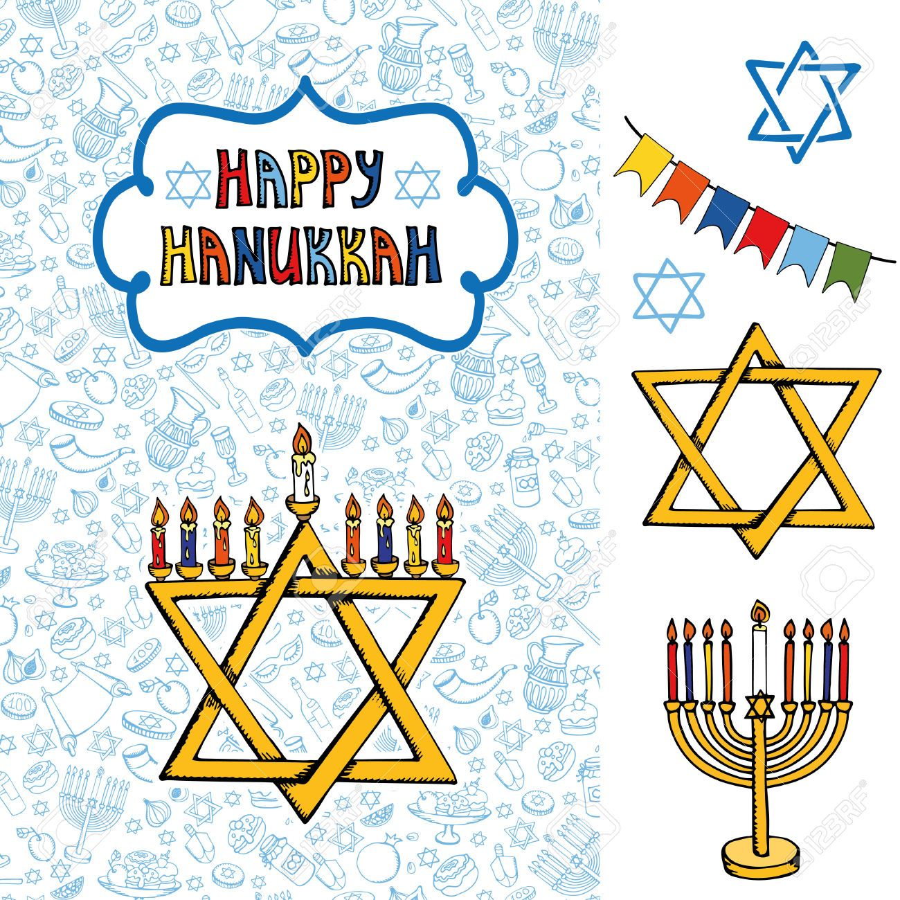 48524475 hanukkah symbols greeting card doodle hand drawing jewish 48524475 hanukkah symbols greeting card doodle hand drawing buycottarizona Images