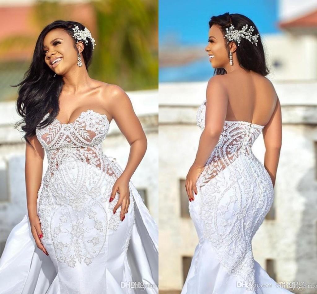 Acheter Incroyable Robes De Mariee Sirene En Dentelle Nigeriane Avec Manches Longues Appliques Wedding Gowns Mermaid Applique Wedding Dress Sheer Wedding Dress [ jpg ]