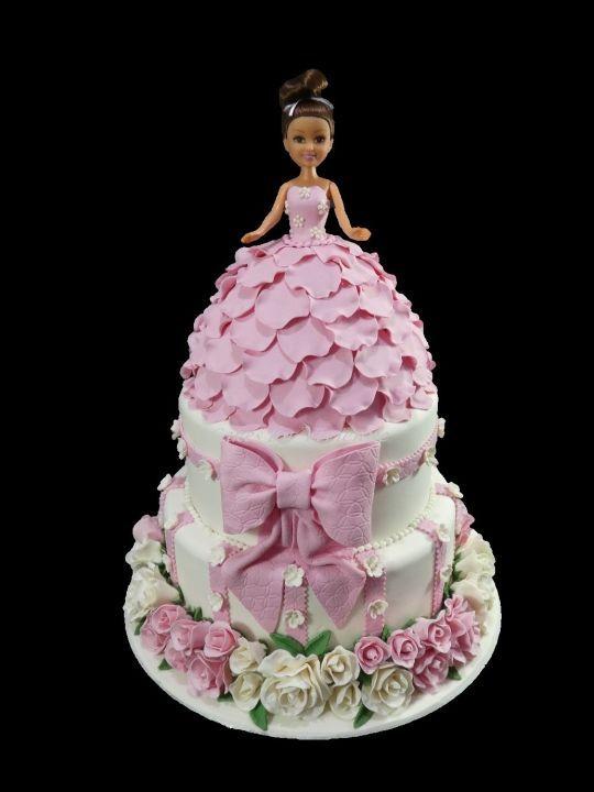 Doll And Roses 1st Birthday Cake Doll Cakes Cake Birthday Cake
