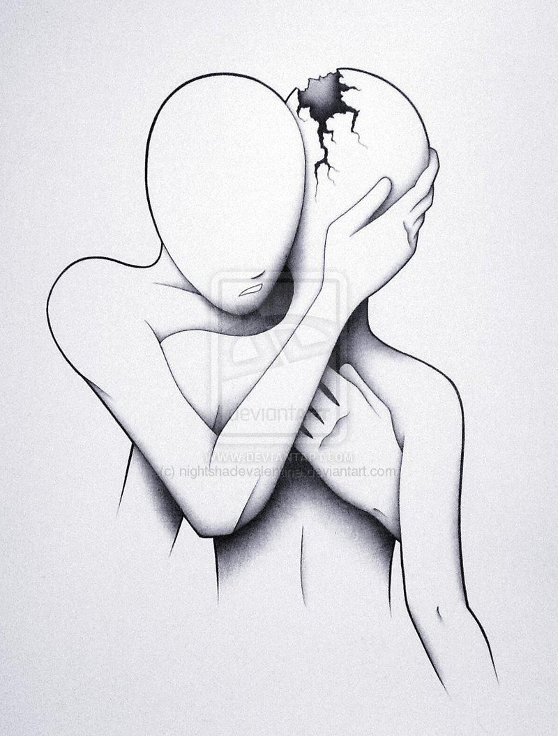 Sketches Broken Girl Crying Black And White