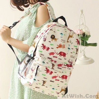 Fresh Sweet Graffiti Bicycle Animal Cat Canvas Backpack Source by miriammitchel0210 for teens