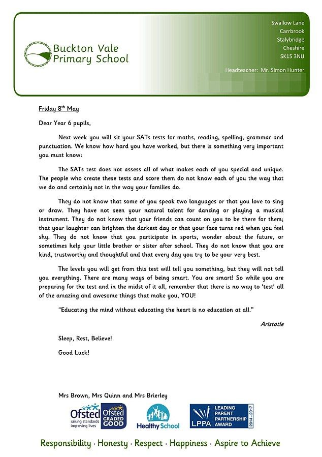 Teachers Send Inspirational Letter To Primary School Pupils