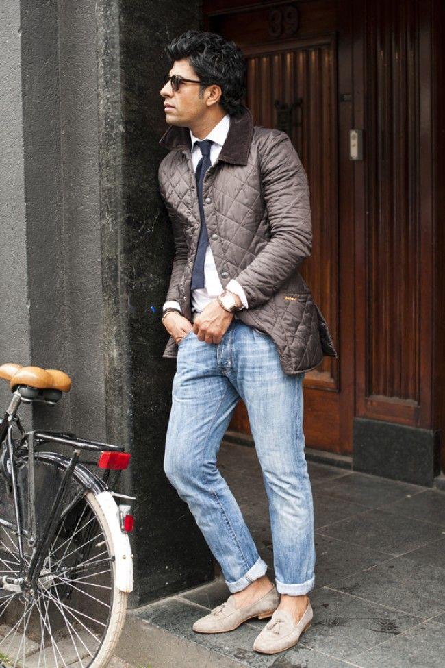 brown quilted jacket × denim lookbook barbour suitsupply   Dude ... : quilted jacket over suit - Adamdwight.com