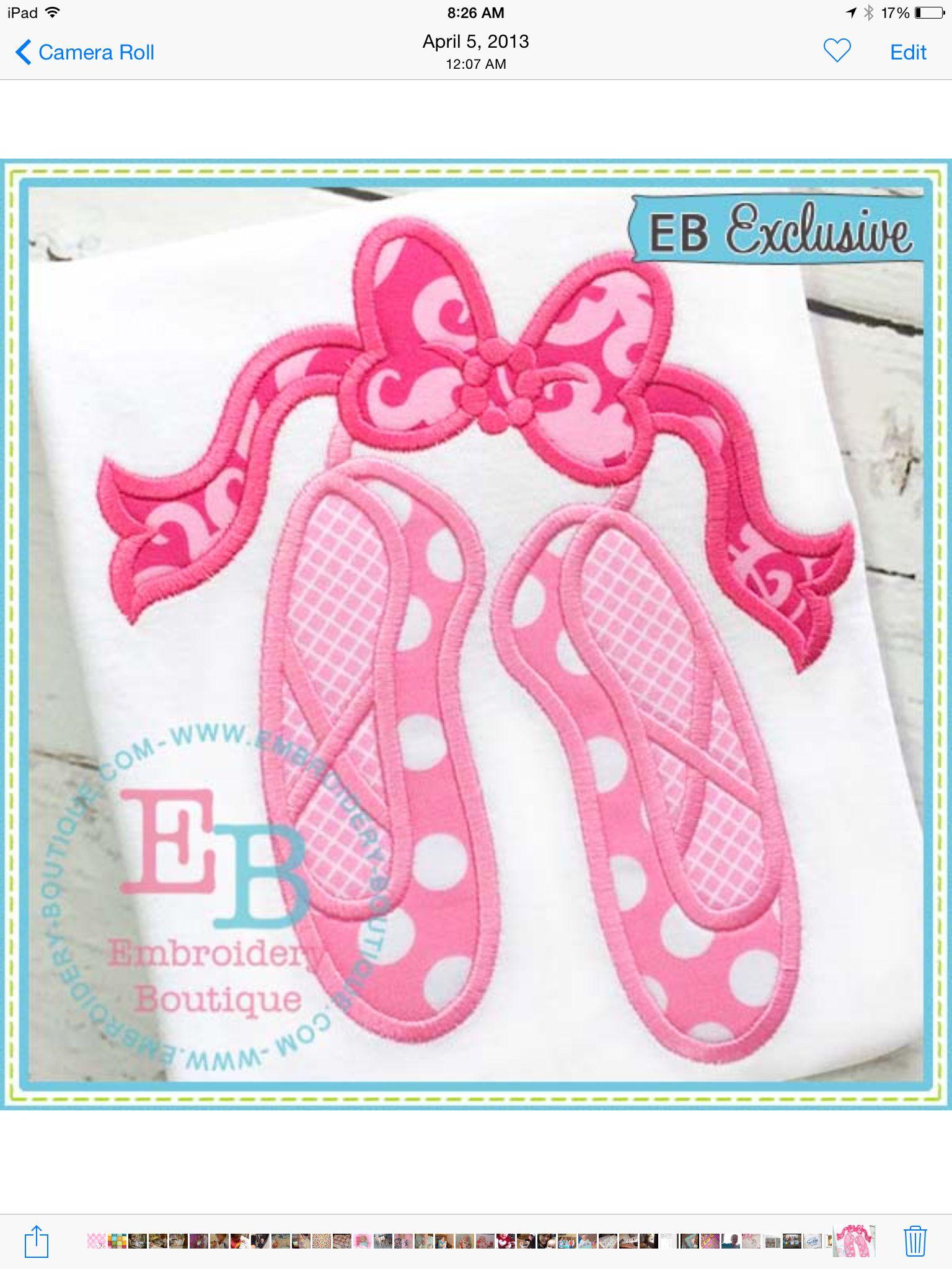 Ballet Shoes Embroidery Boutique Designs Pinterest Ballet Shoe