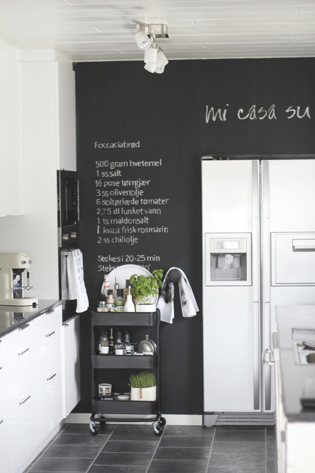 If You Want A Darker Grey Consider Making It The Focal Wall And Keeping The Others White For A Mod Kitchen Chalkboard Kitchen Wall Decor Kitchen Inspirations
