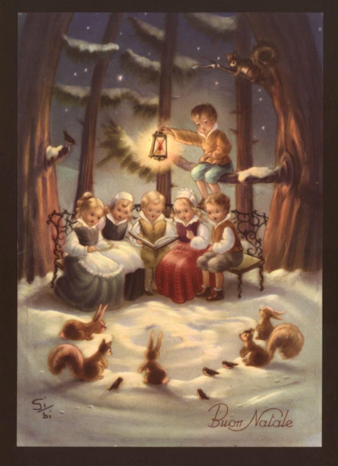 children chorus singing christmas songs for animals in snowy woods sibi postcard ebay - Animals Singing Christmas Songs