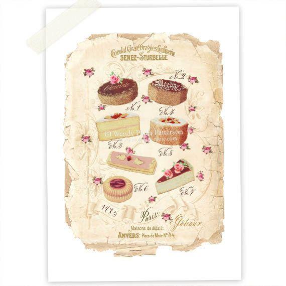 French Cakes Kitchen Art, Art print, Giclee, Illustration, Patisserie, Vintage Cake, Marie Antoinette, Pink Roses, Collage via Etsy