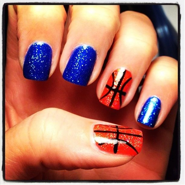 Basketball Nails Want These For Senior Night But I Green Instead Of Blue