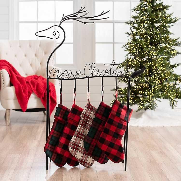 Deer Merry Christmas Metal Stocking Holder from Kirkland's ...