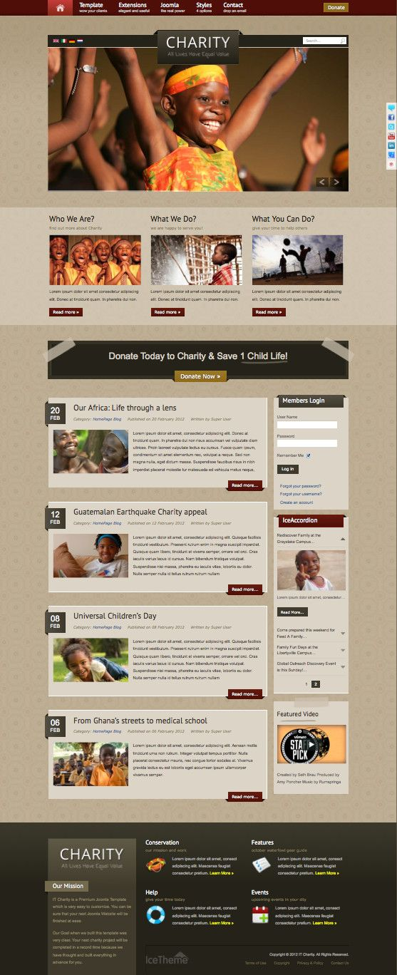 IT Charity Joomla Non-Profit Template Joomla Templates Pinterest - profit template