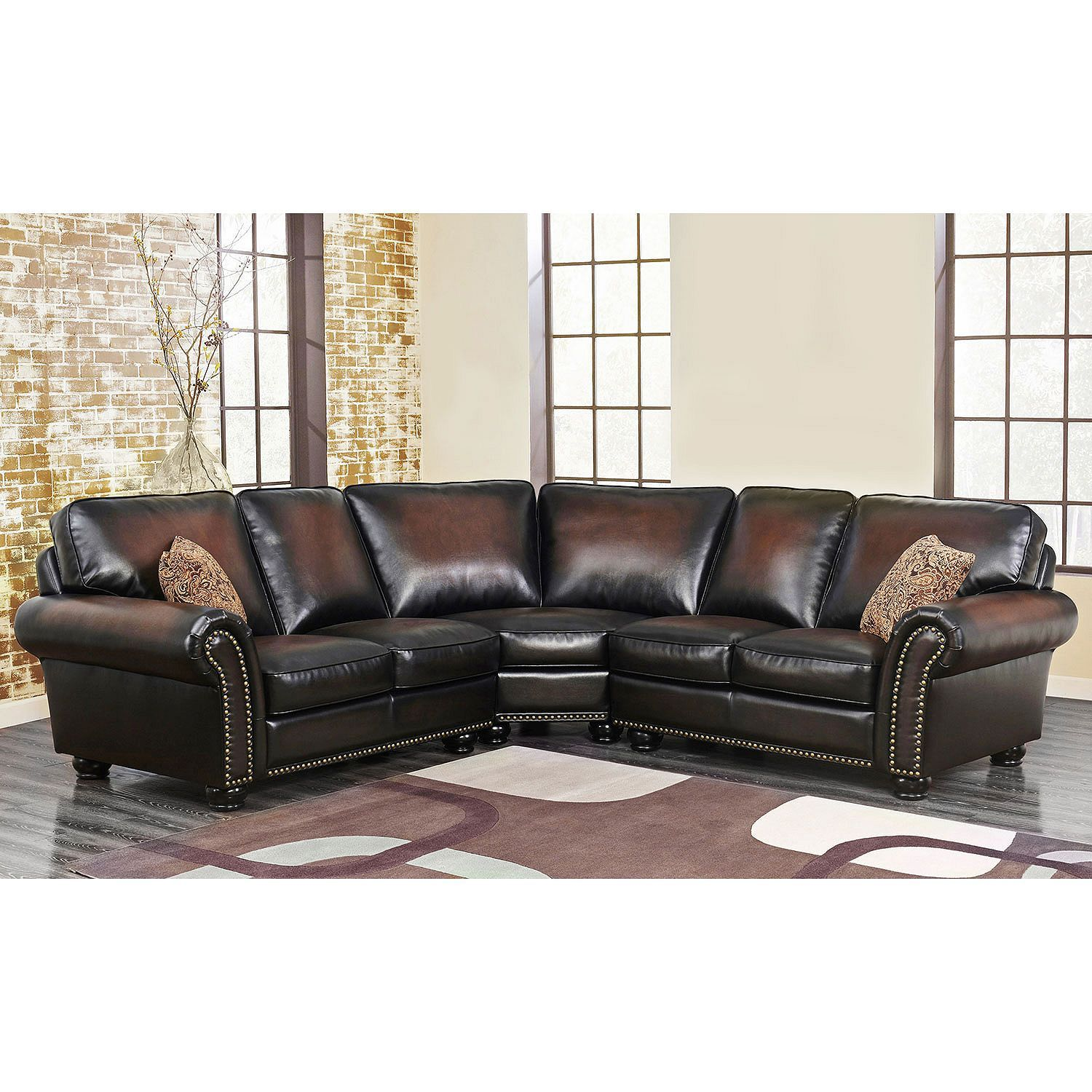 Melrose Leather 3 Piece Sectional Sam 39 S Club Leather Sectional Ottoman In Living Room Leather Sectional Sofa
