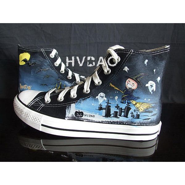 """Halloween Night"" High-Top Canvas Sneakers (325 SEK) ❤ liked on Polyvore featuring shoes, sneakers, black canvas sneakers, high top canvas sneakers, hi top canvas sneakers, high top shoes and clear sneakers"