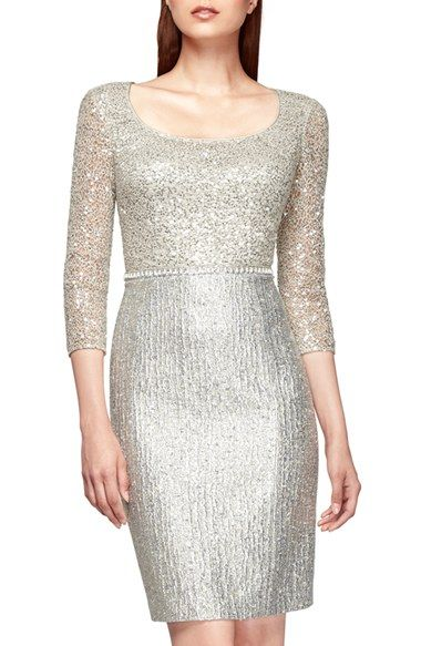 edfb834cb55 Kay Unger Sequin Lace   Metallic Tweed Sheath Dress available at  Nordstrom