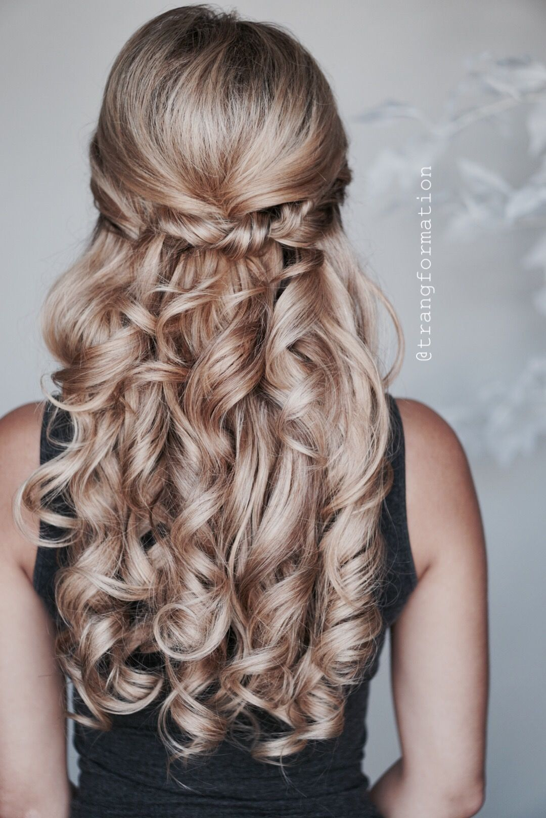wedding hairstyles, bridal hair, half updo, half up half