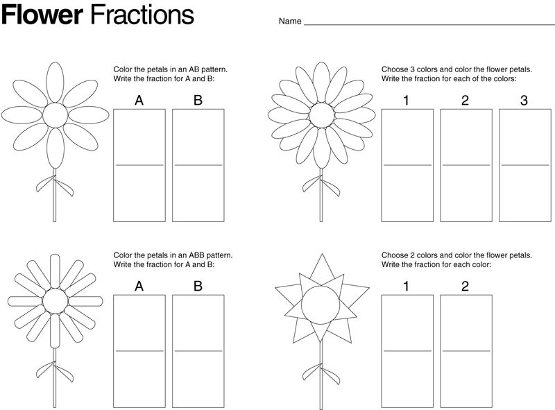 Flower fractions. Also other great ideas on this blog. | Math ...