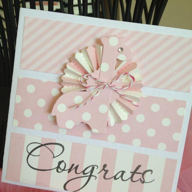 Handmade card for newborn baby girl, using Papertrey Ink die & Tim Holtz Rossette die