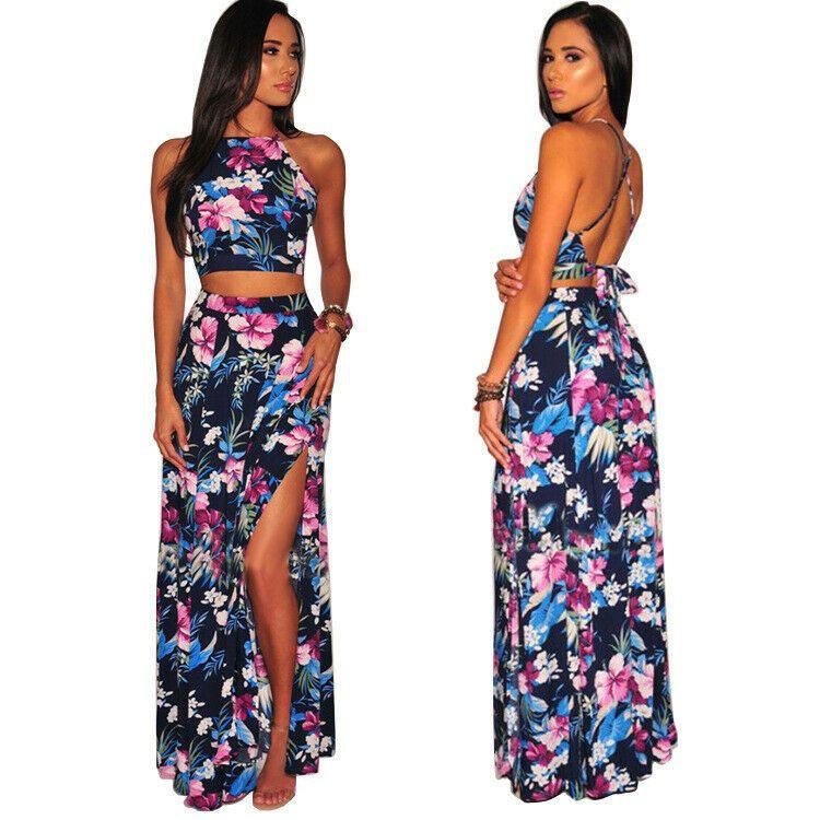 Beach Women Top Floral Two Dress Party Crop Piece Set Long Skirt  Maxi