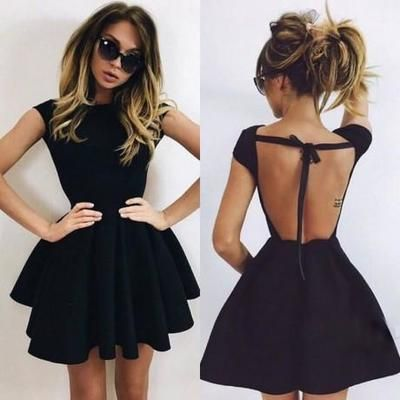 Photo of Backless A-Line Scoop Homecoming Dresses, Short Black Simple Chea