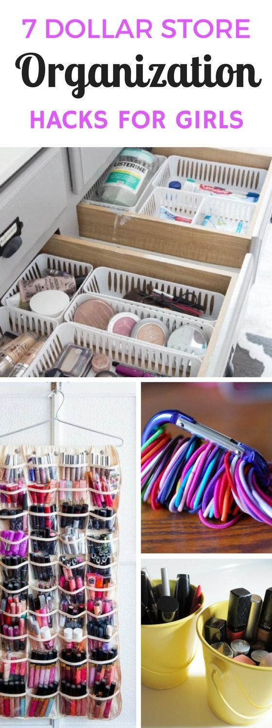 7 Dollar Store Organizing Ideas Every Girl Would Love #organizingdormrooms
