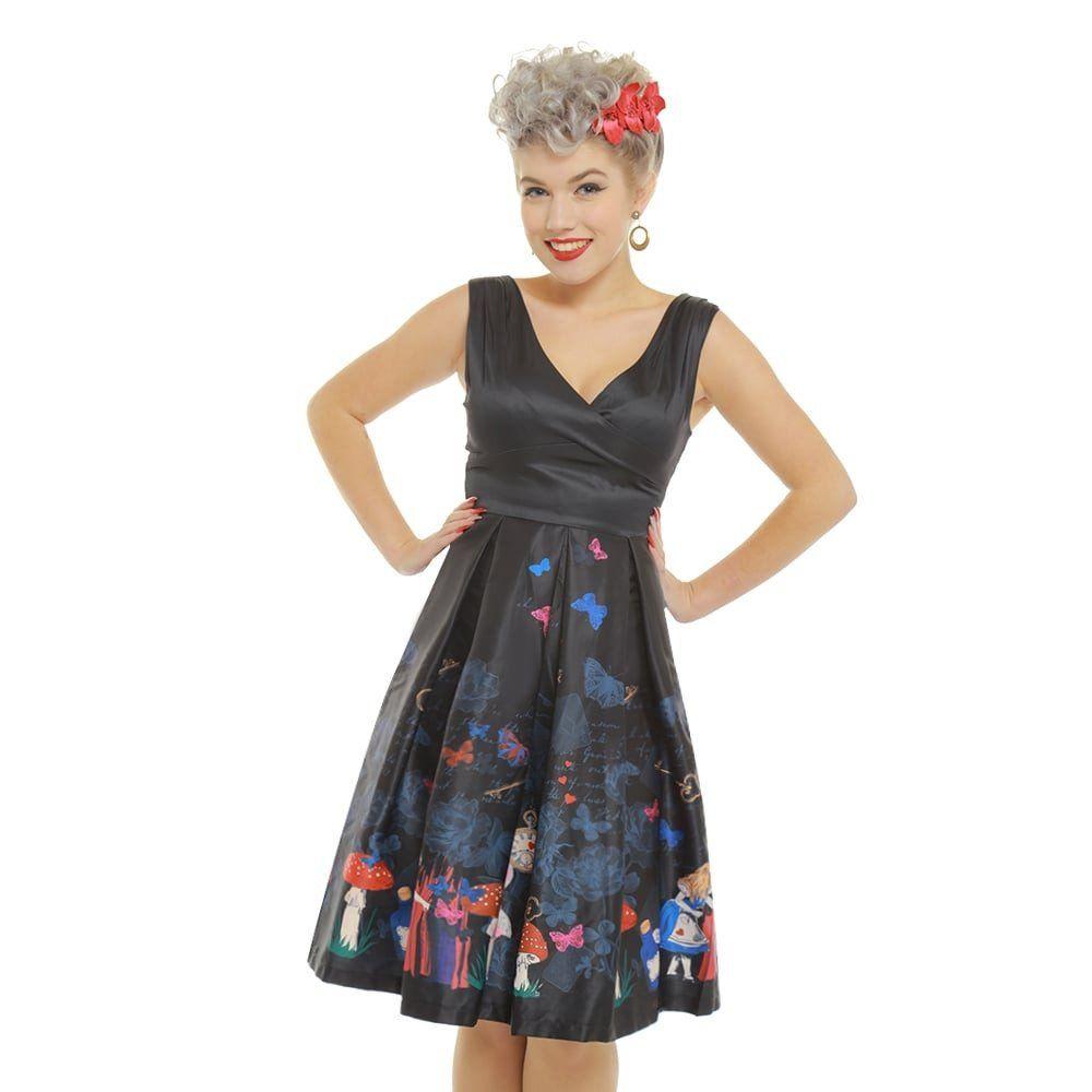 Valerie Black Alice In Wonderland Print Swing Dress | 50\'s Swing ...