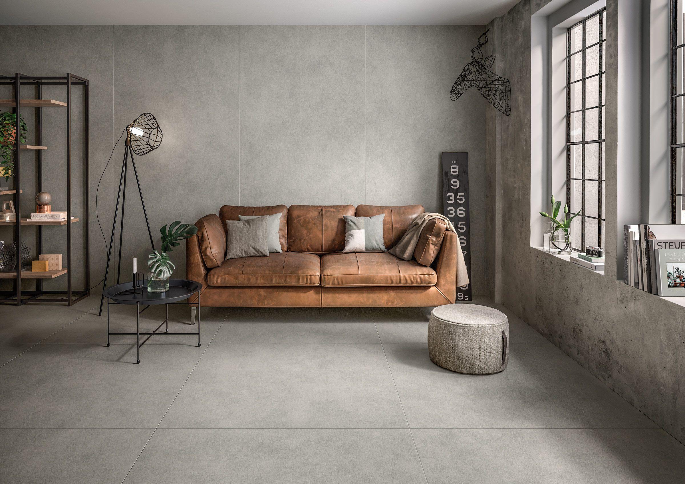betonoptik durch großformatfliesen im wohnzimmer