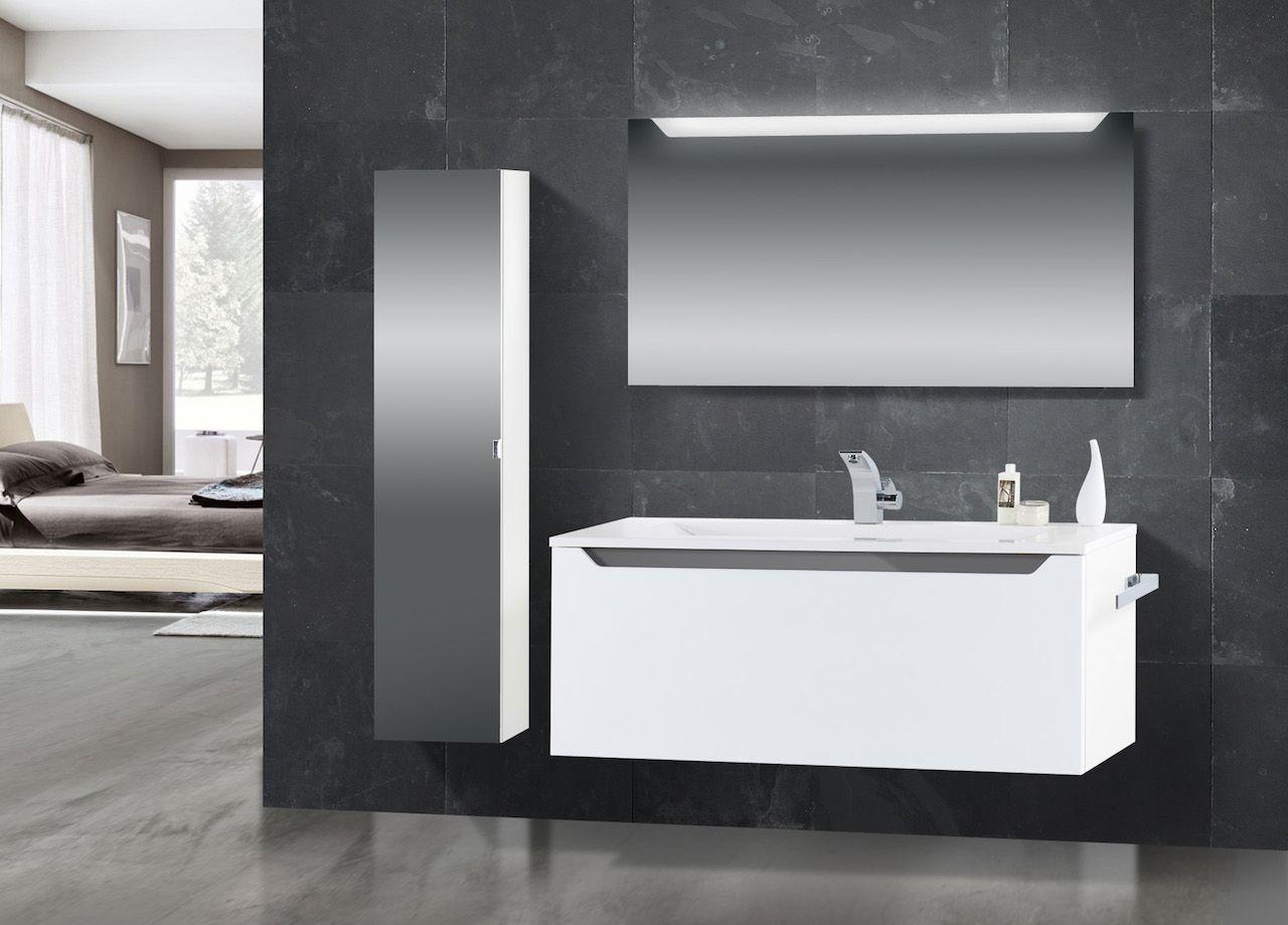 Design Badmöbel Set mit Waschtisch 120 cm, Grau Hochglanz ...