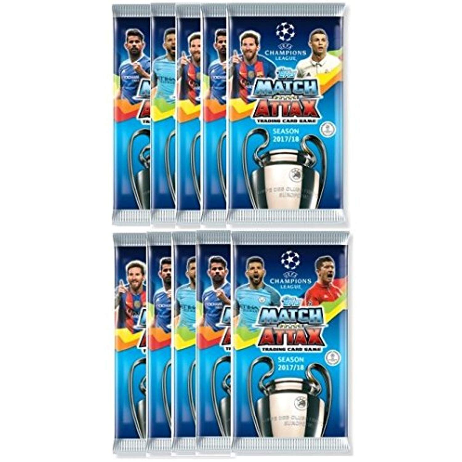 2017 2018 Topps Uefa Champions League Match Attax Soccer Cards Ten 10 9 Card Packs 90 Cards Look For Stars Griezmann Soccer Cards Uefa Champions League