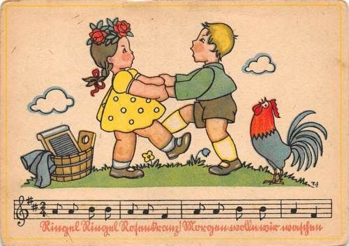 Vintage-Fantasy-Fairy-Tale-laundry-washing-Couple-Dance-Music-Song-Lied-Rooster
