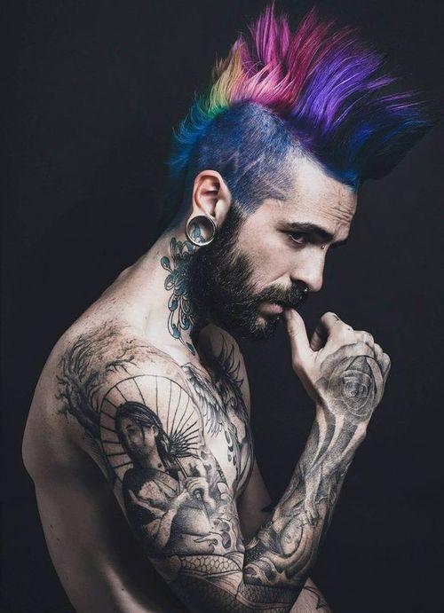Punk Editorial Tattooed Men Punk Hair Hair Styles Mohawk Hairstyles Men