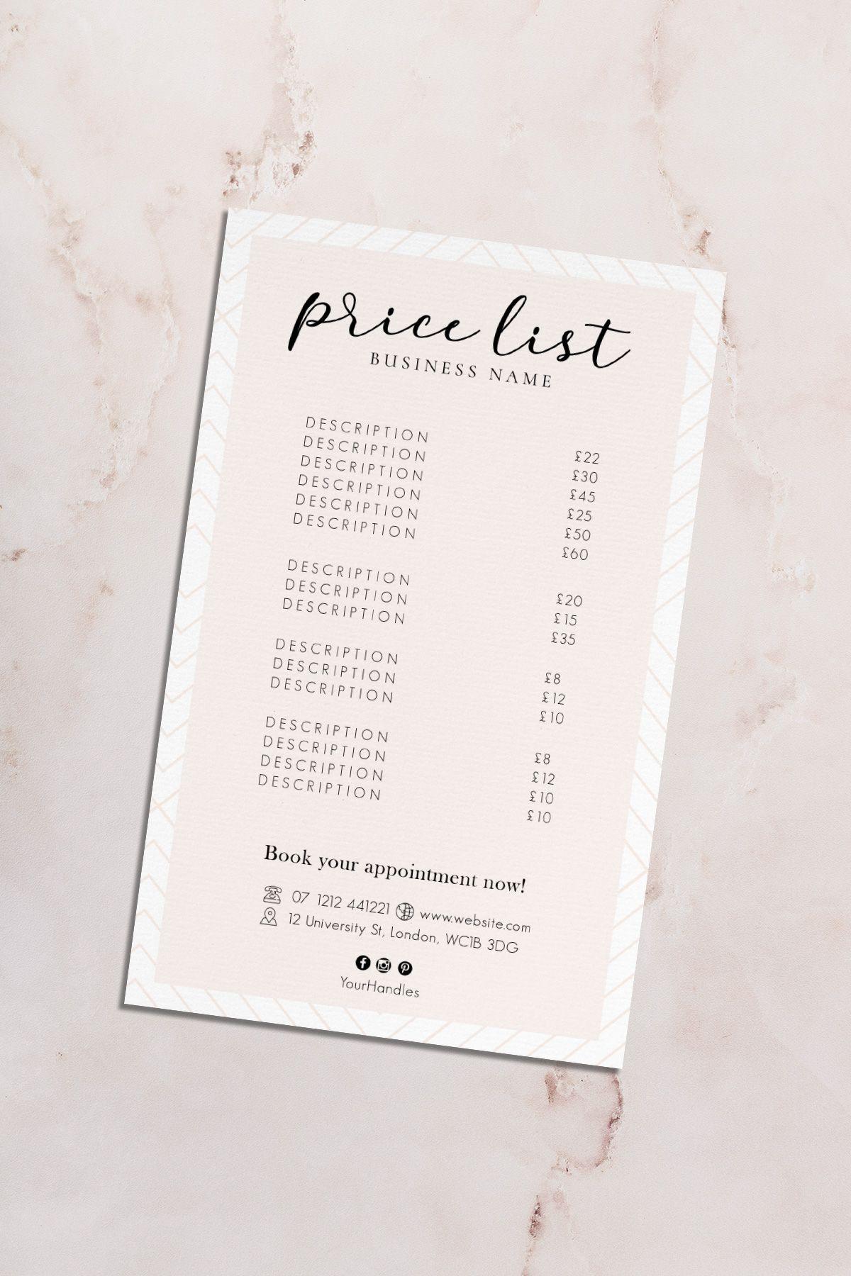 Salon Price List, Beauty Service List, Price Sheet