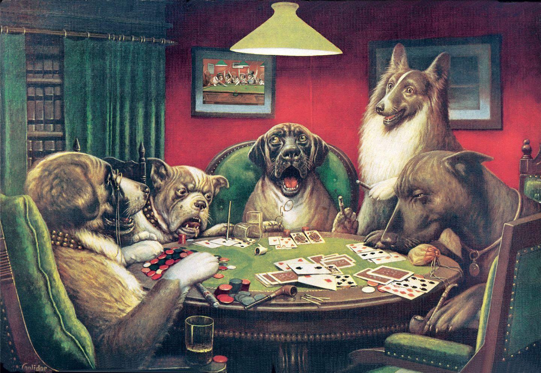 картины играют в собаки карты