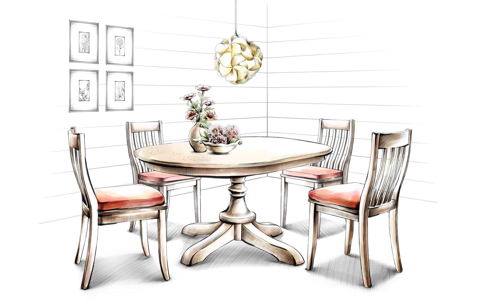 Dining room perspective drawing - Hand Drawing Interior Home