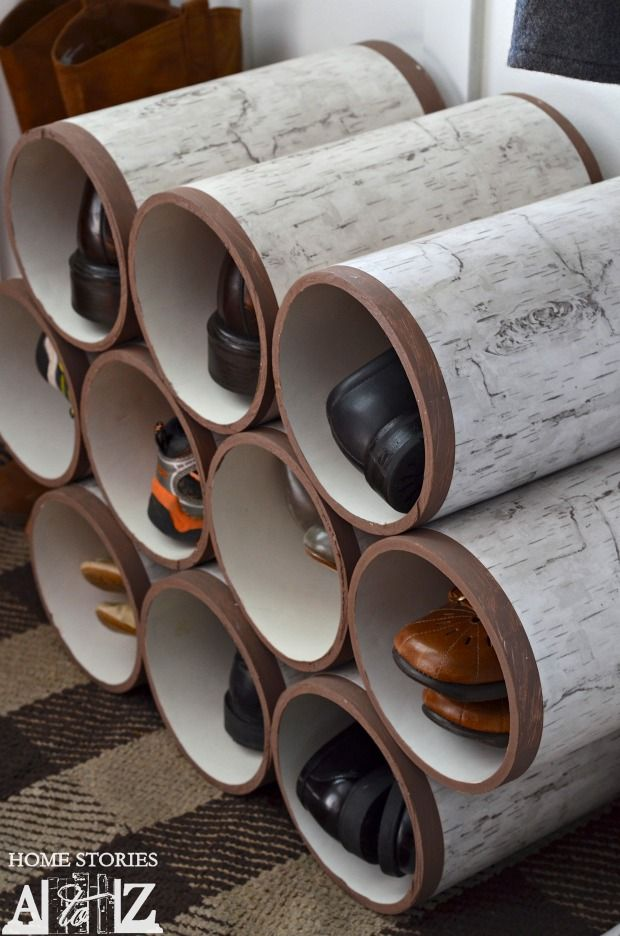 decorating with birch | shoes organizer, pvc pipe and pipes