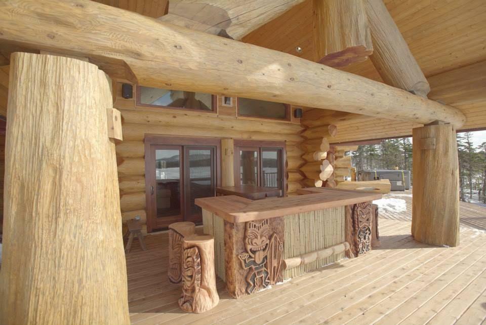 the tiki bar was designed for the residence of pioneer log home s east coast representative ken. Black Bedroom Furniture Sets. Home Design Ideas