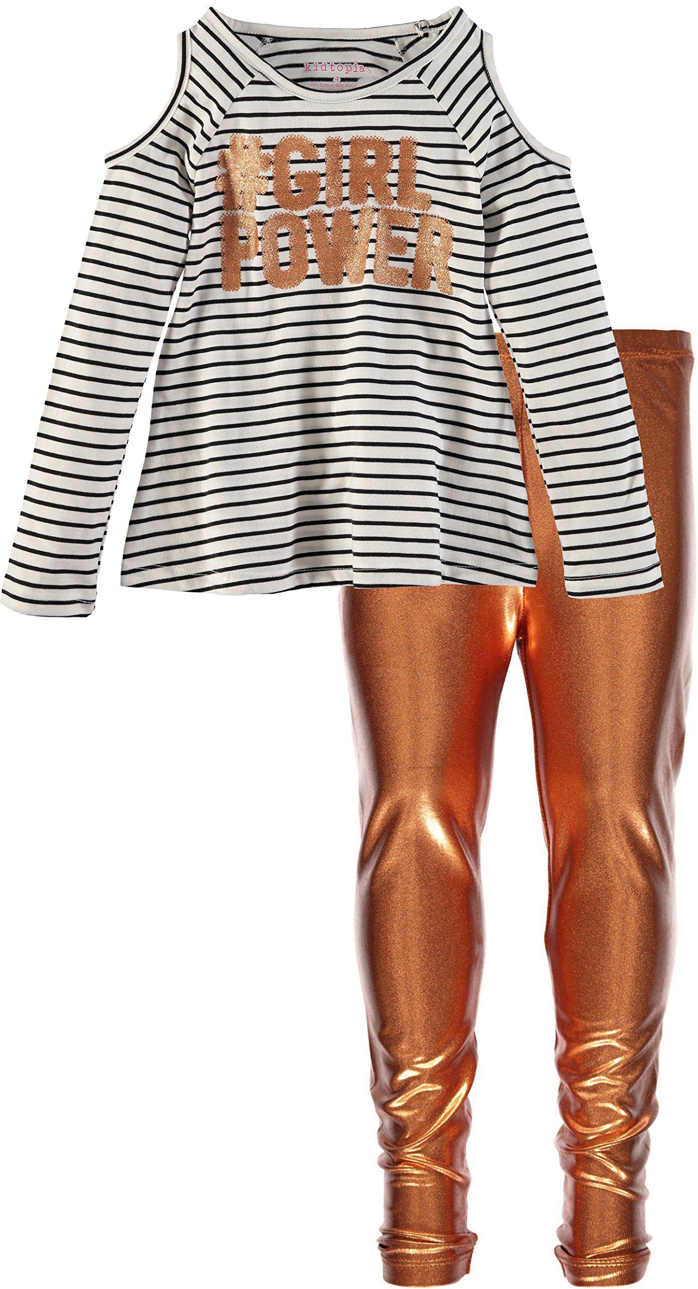 005c127b94dc2 Kidtopia Girls  Stripe Top Metallic Legging Set (4