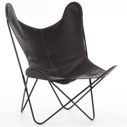 Photo of Aa by Airborne armchair, black lacquered structure, leather cover, fawn (fauve) – buffalo leather