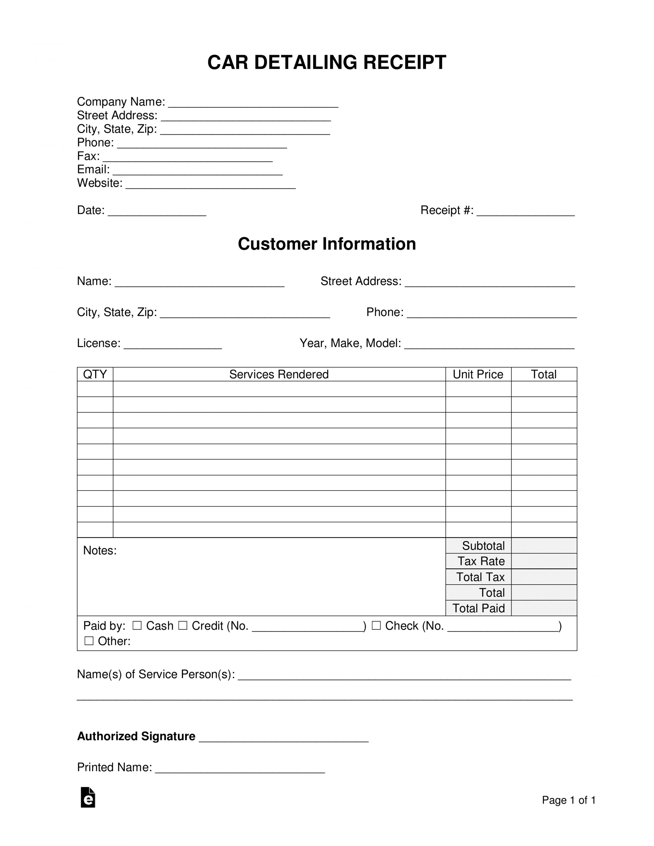Get Our Image Of Car Detailing Receipt Template Invoice Template Receipt Template Templates