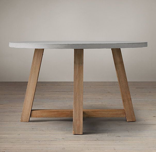 Rh S Salvaged Wood Weathered Concrete Beam Round Dining Table Our Pairs A Slate Grey Top With The Natural Beauty Of Solid Pine