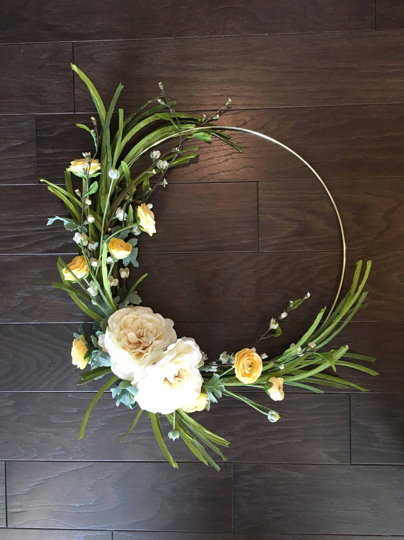 18 inch Spring wreath, modern wreath, hoop wreath