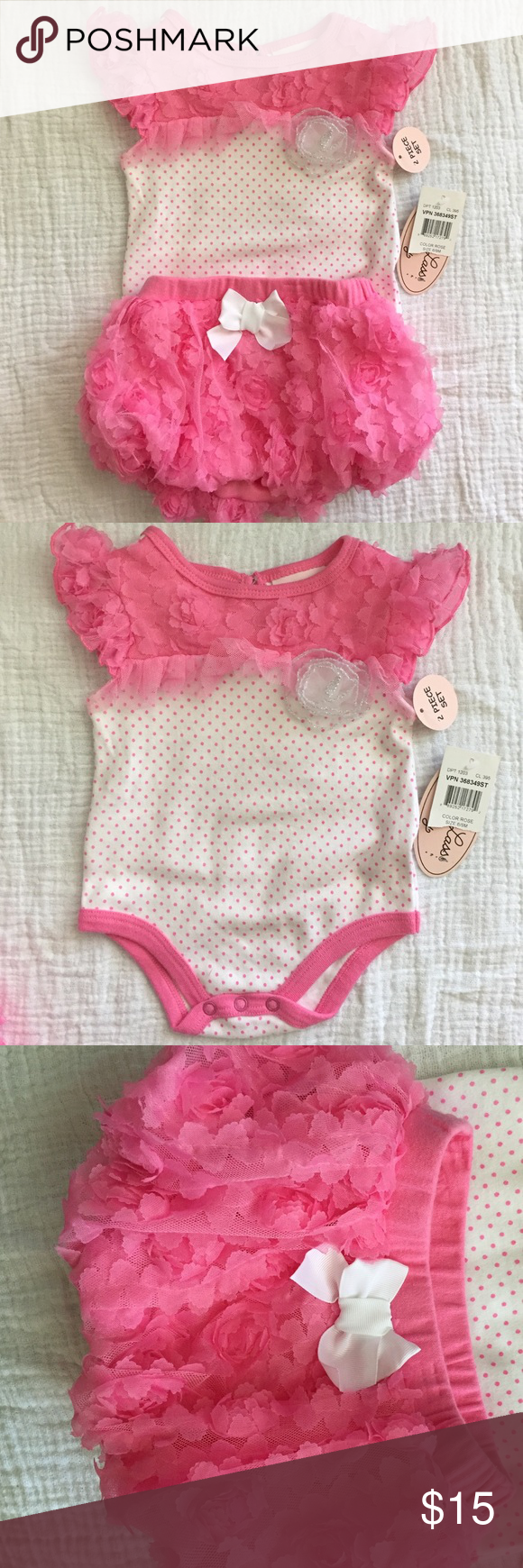 👭 Polka Dot and Lace Skirt and Onesie NWT. Polka dot onesie with dainty flower lace neckline. Keyhole closure in back. Snaps in stride. Bubble skirt with matching flower lace. Matching Sets