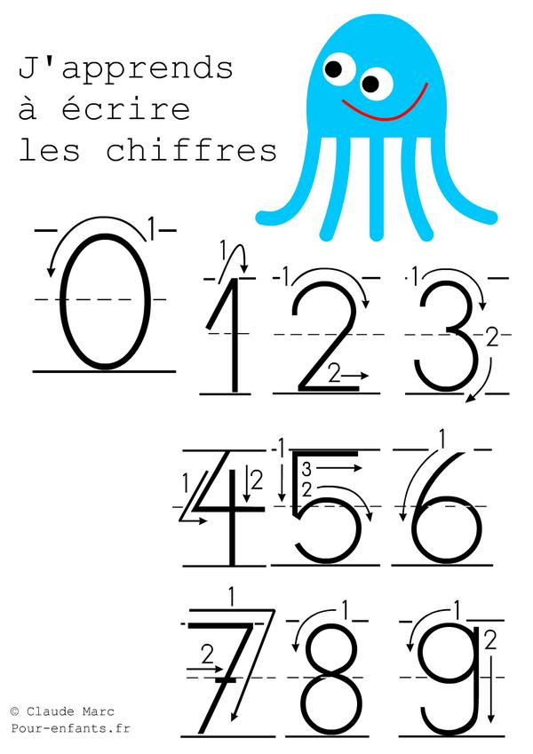 Ecrire les chiffres en maternelle apprendre criture - Chiffre a imprimer gratuit ...
