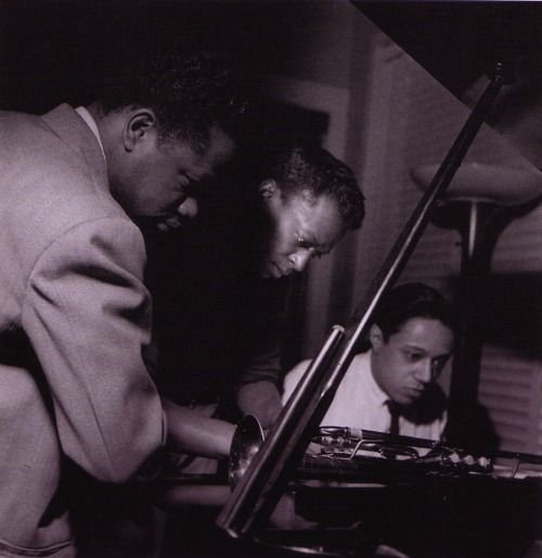 Clifford Brown, Miles Davis and Horace Silver at Davis' Volume Two session, Hackensack NJ, March 61954 (photo by Francis Wolff)