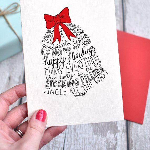 traditional typographic christmas card  etsy  christmas