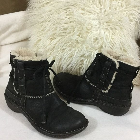 "UGG black leather winter ankle boots UGG black leather 6"" tall boots. Leather insoles with shearling sides. Leather lace straps around ankle to tighten to desired size. Durable winter soles for better traction and wear.  Some wear on shearling inside from socks other than that these are in great condition. UGG Shoes Winter & Rain Boots"