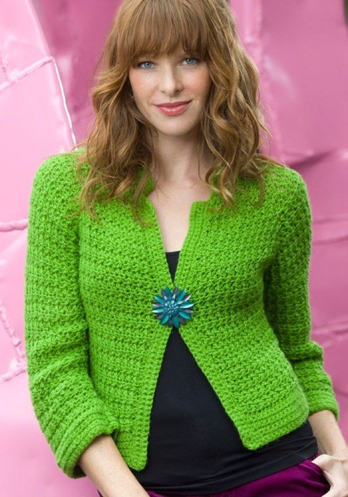 Sparkling Crochet Cardi In Red Heart Shimmer Solids Wr2134