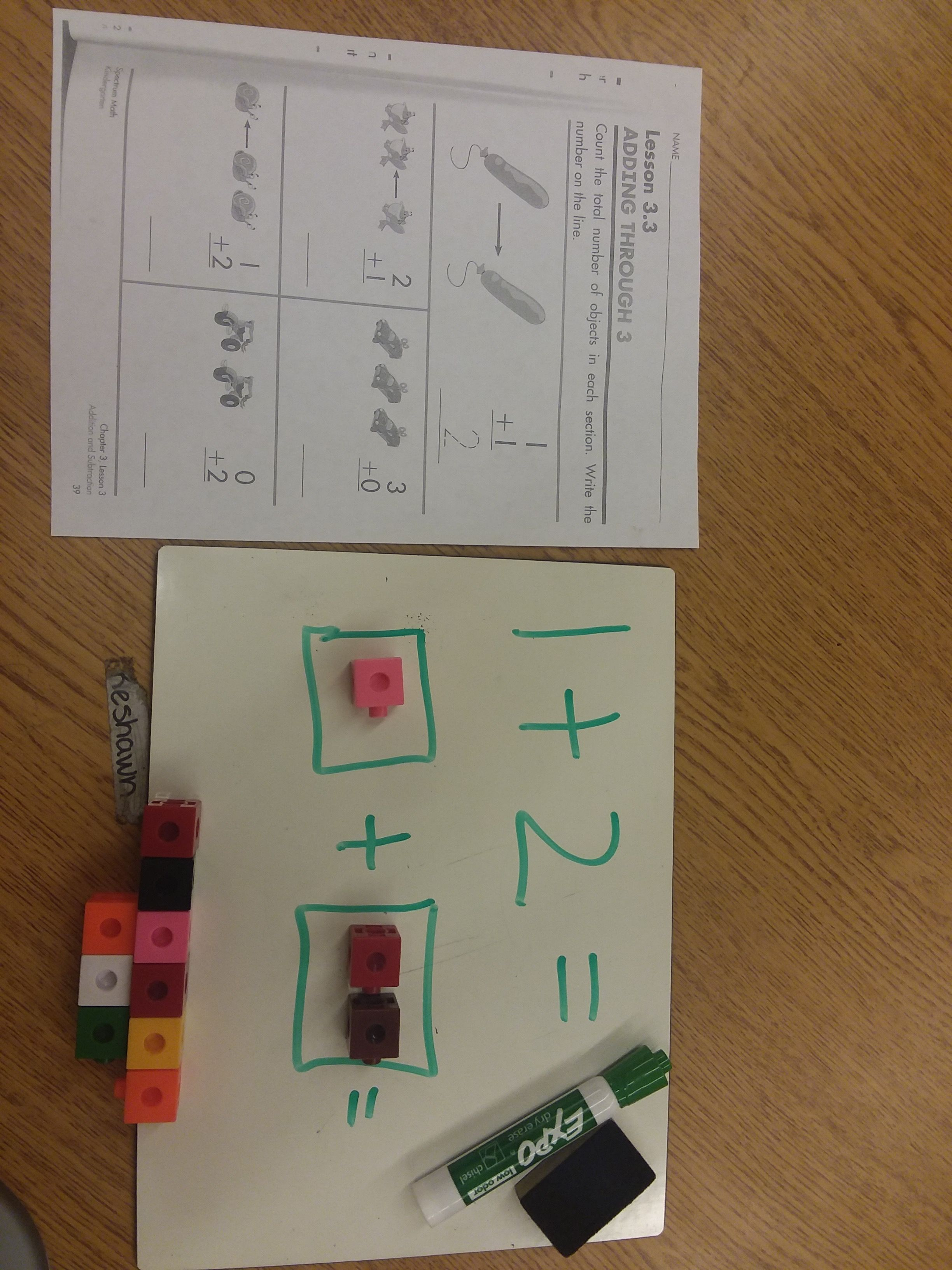 Addition Using Cubes White Board And Worksheet Math Boards Math Worksheets [ 3264 x 2448 Pixel ]