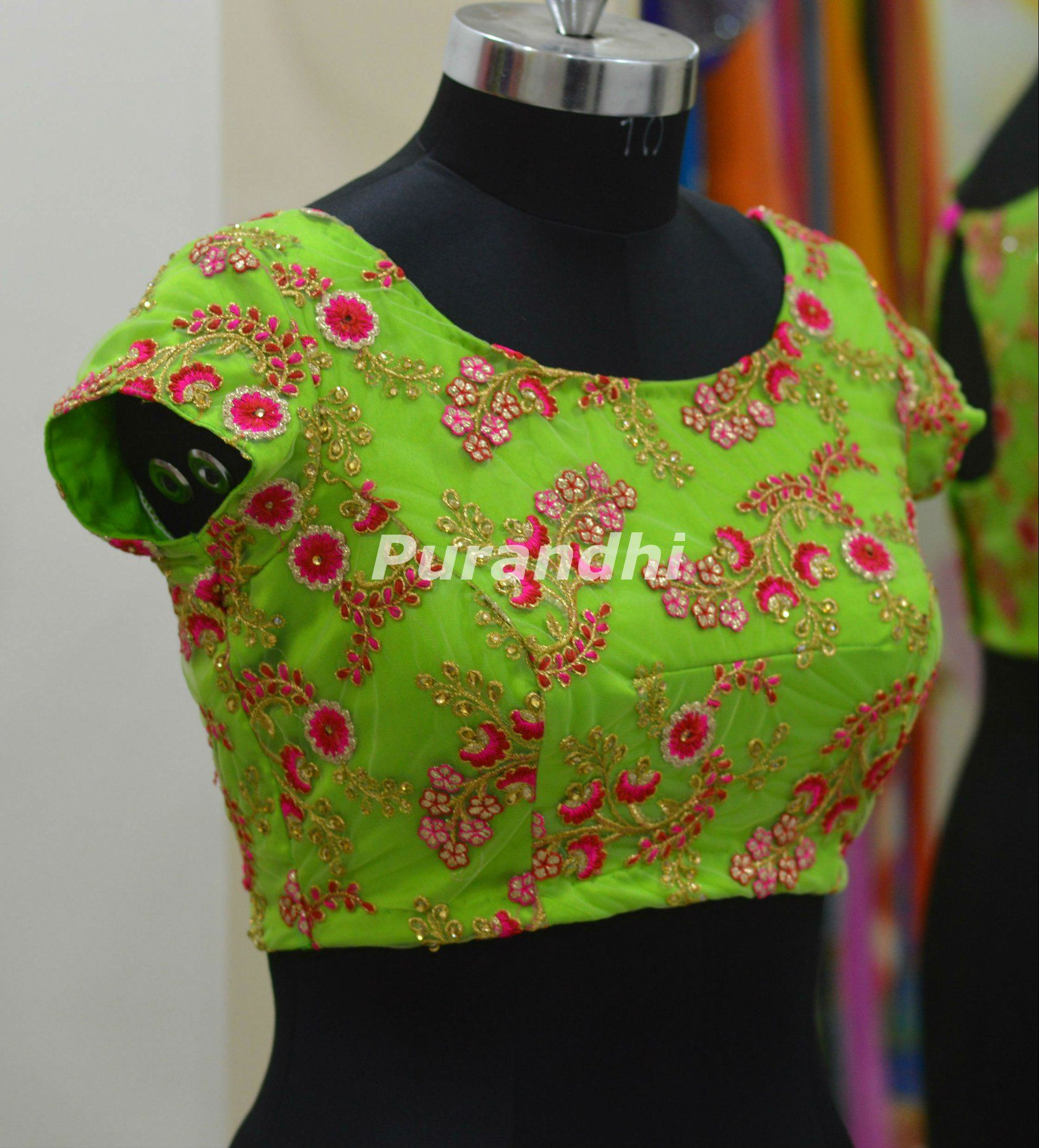 99b2ee67b4bce6 Beautiful parrot green color designer blouse with floret lata design hand  embroidery kundan and thread work. 30 July 2018